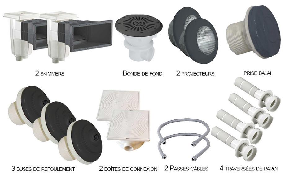 Kit N°2 pièces à sceller grises anthracite pour piscine liner