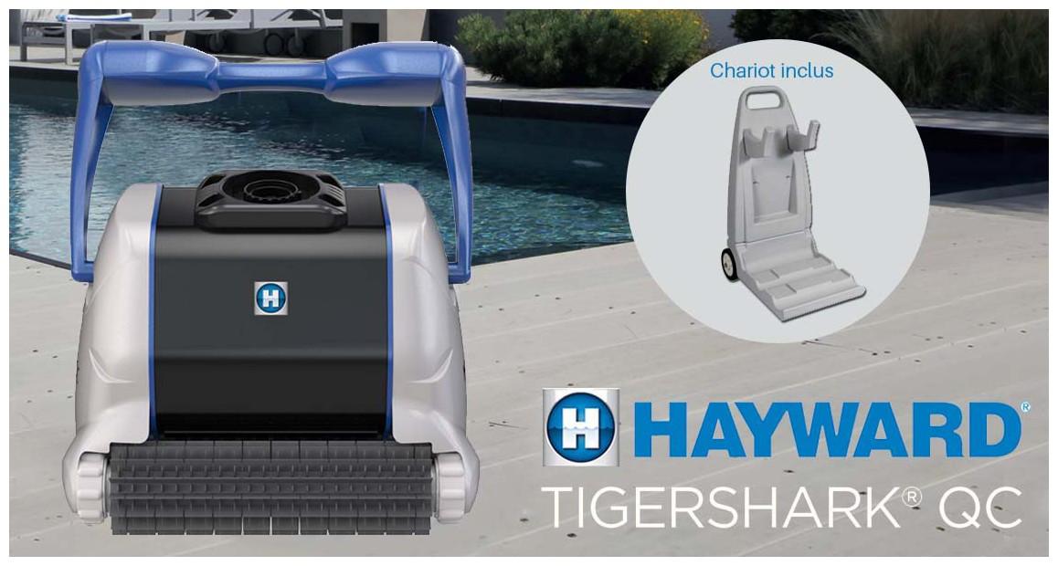 robot piscine Tiger Shark New QC Hayward brosses picots et chariot en situation
