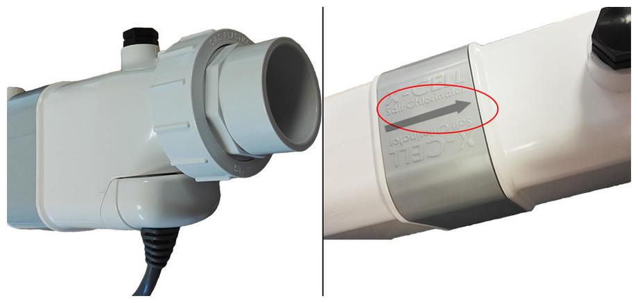 électrolyseur au sel de piscine Perle Série White installation ddétecteur débit