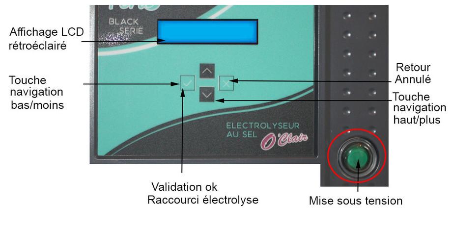 électrolyseur au sel de piscine Perle Série Black commande