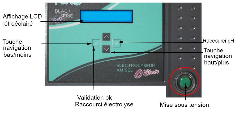 électrolyseur au sel de piscine Perle Duo Série Black commande