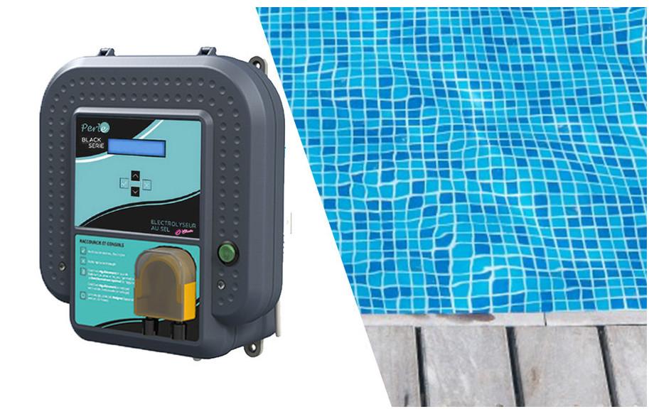 électrolyseur au sel de piscine Duo Perle Série Black en situation