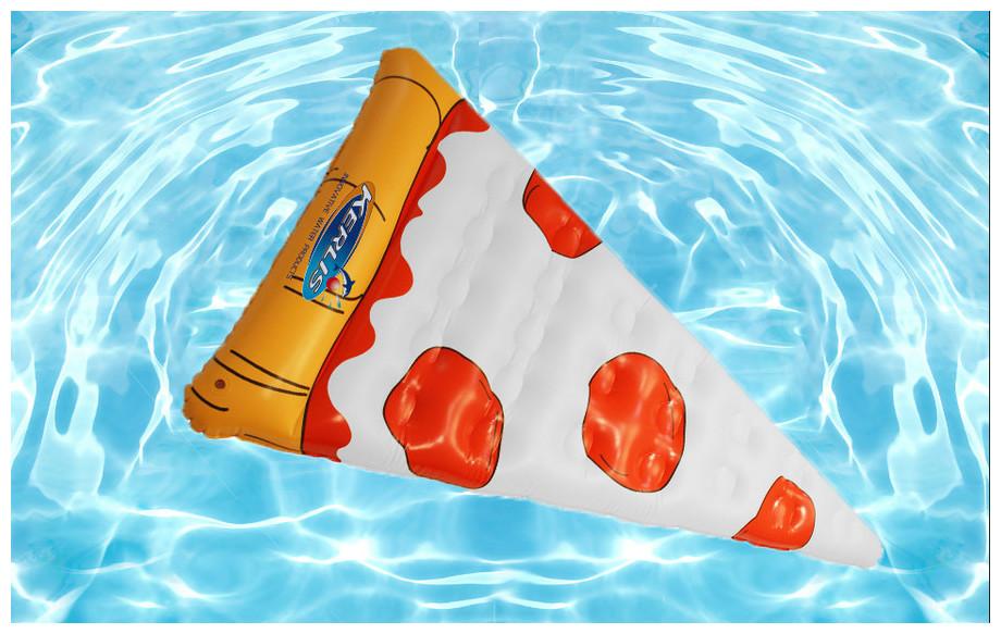 détals de la bouée gonflable de piscine Kerlis en forme de pizza