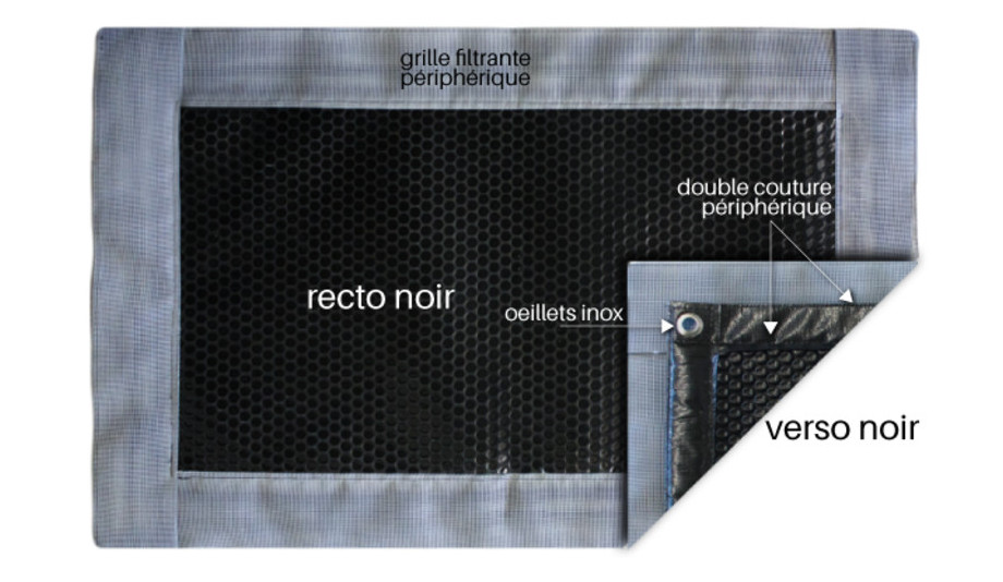 Bâche à bulles Iverbul quatro noire 400µ avec bordure filtrante - détails