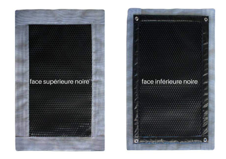 Bâche à bulles Iverbul quatro noire 400µ avec bordure filtrante - faces