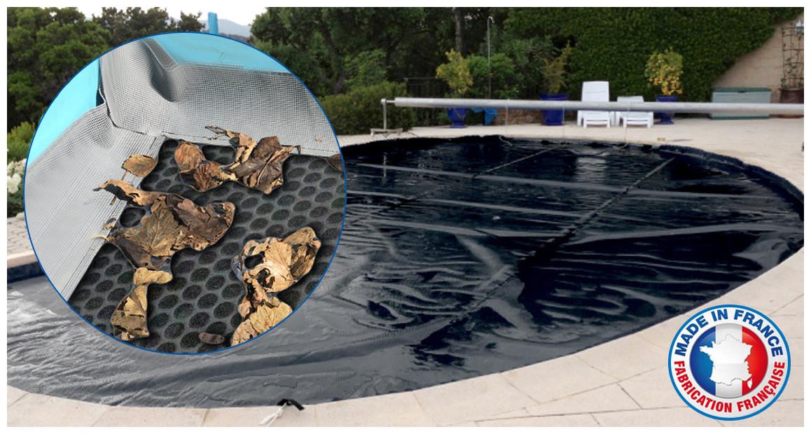 bâche à bulles piscine noire été hiver iverbul avec grille filtrante