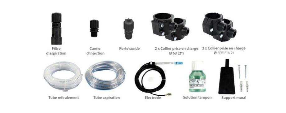 éléments fournis avec la pompe régulateur ph Perle