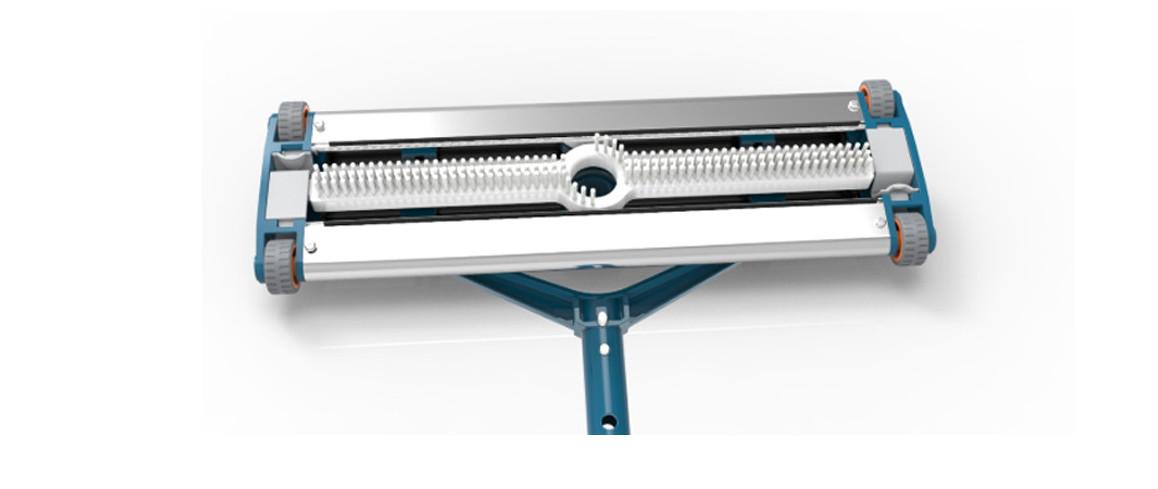 détails de la tête de balai en aluminium 45 cm blue line