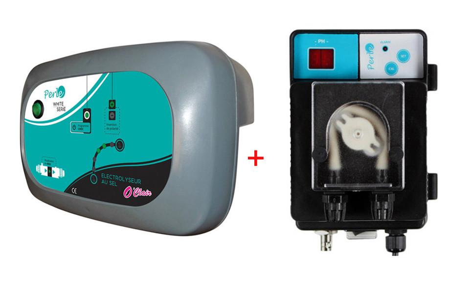 pack électrolyseur au sel et régulateur de ph Perle Série White