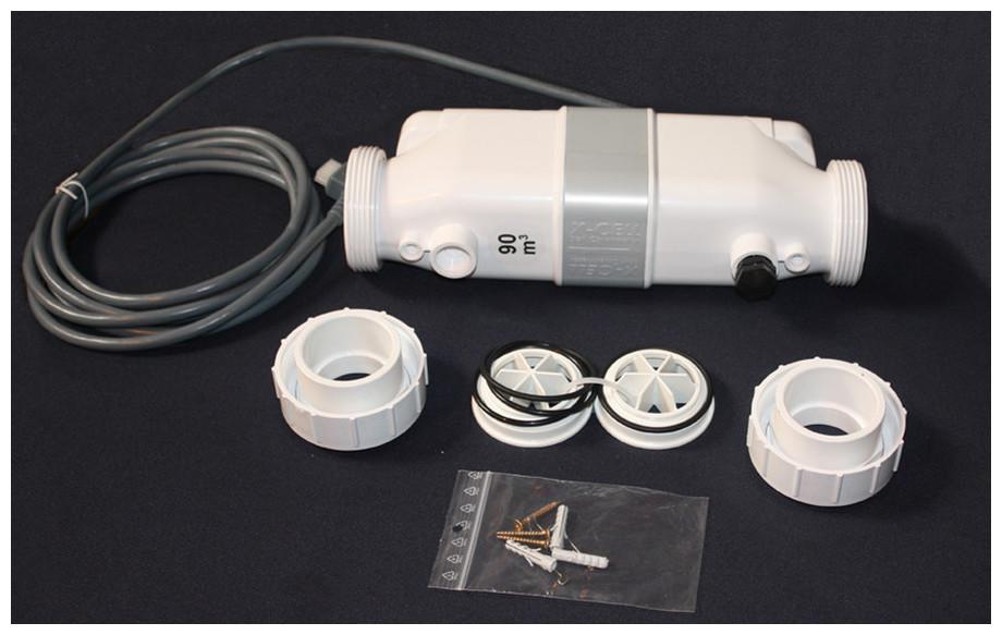 pack électrolyseur au sel et régulateur de ph Perle Série White composants