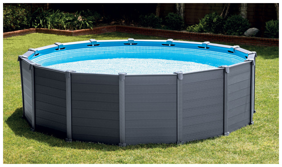 Piscine hors sol intex habillage pvc gris piscine center net - Piscine rectangulaire hors sol intex ...