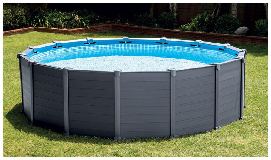 piscine hors sol intex habillage pvc gris piscine center net. Black Bedroom Furniture Sets. Home Design Ideas
