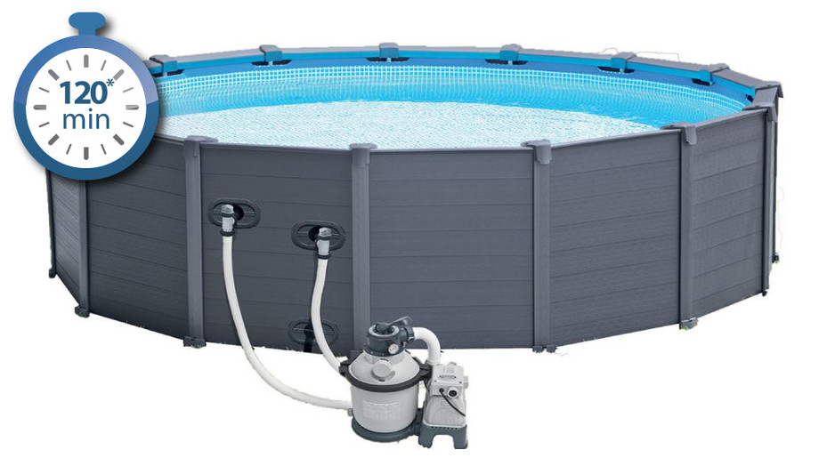 Piscine hors sol intex habillage pvc gris piscine center net for Piscine center