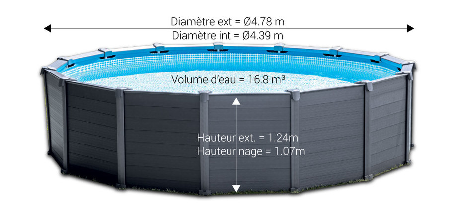 Piscine hors sol intex graphite habillage pvc gris for Piscine tubulaire hauteur 1 m