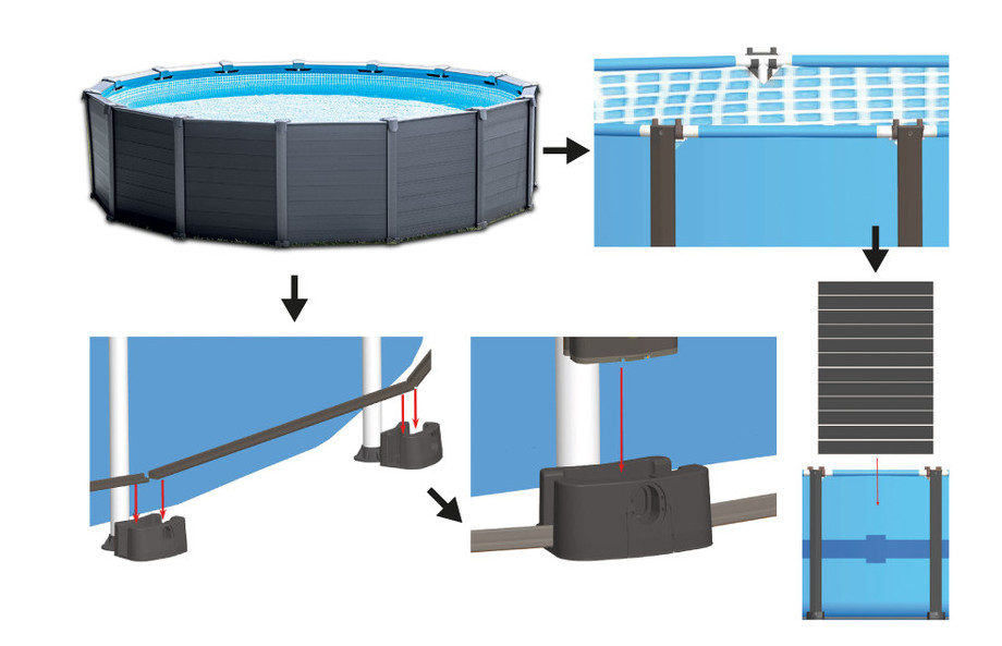 Kit piscine tubulaire Intex Graphite - habillage PVC