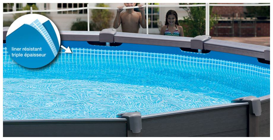 Piscine Hors Sol Intex Graphite Habillage Pvc Gris Piscine