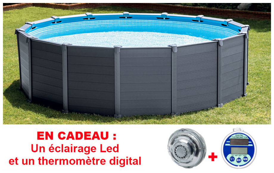 piscine hors sol intex graphite habillage pvc gris