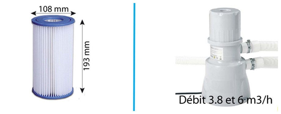 cartouches filtrantes 6m³ piscine jilong dimensions