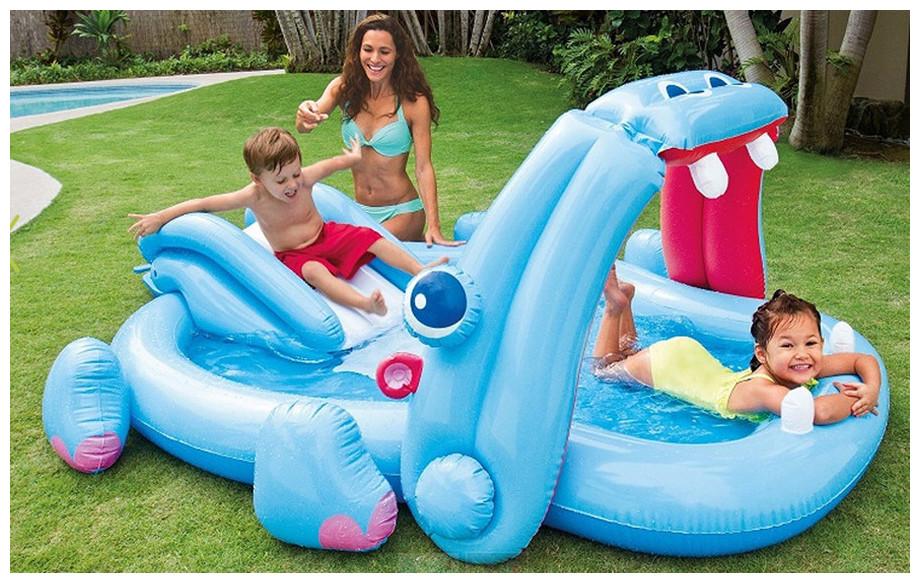 Jeux de piscine gonflable aire de jeu hippopotame for Rustine piscine gonflable