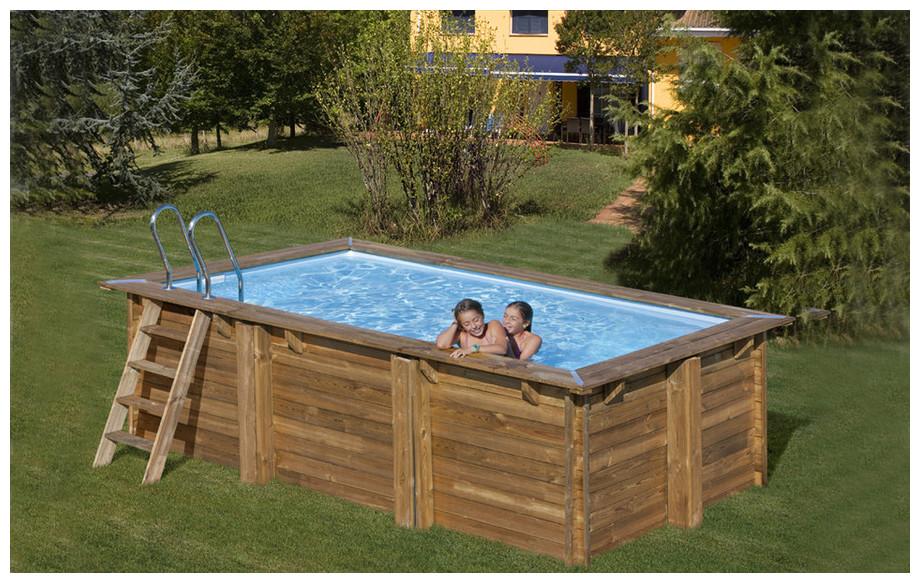 piscine bois en kit rectangle prêt à monter en situation