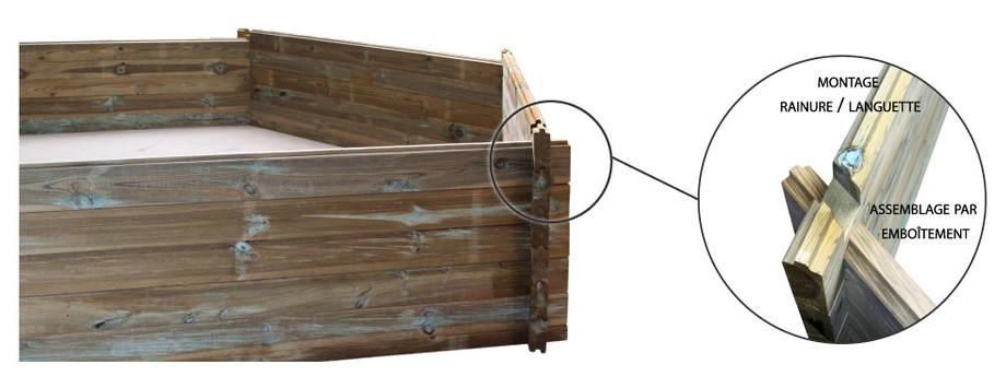 montage de la structure en bois de la piscine woodfirst original 400x250x119 en situation