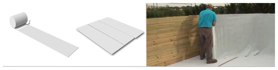 tapis et feutre de parois des piscines bois en kit Woodfirst Original en situation