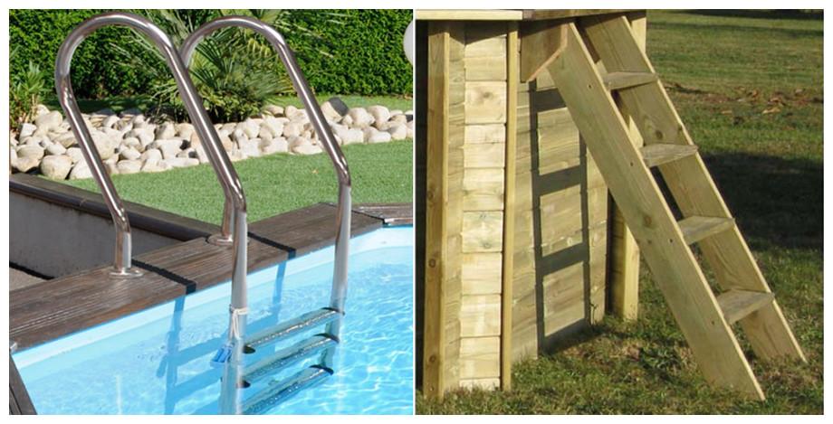 échelle d'accès piscine bois woodfirst original rectangle