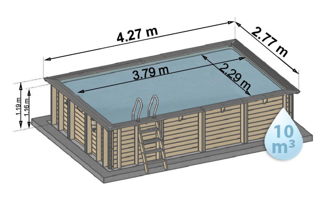 schéma de dimensions de la piscine bois en kit woodfirst original rectangle