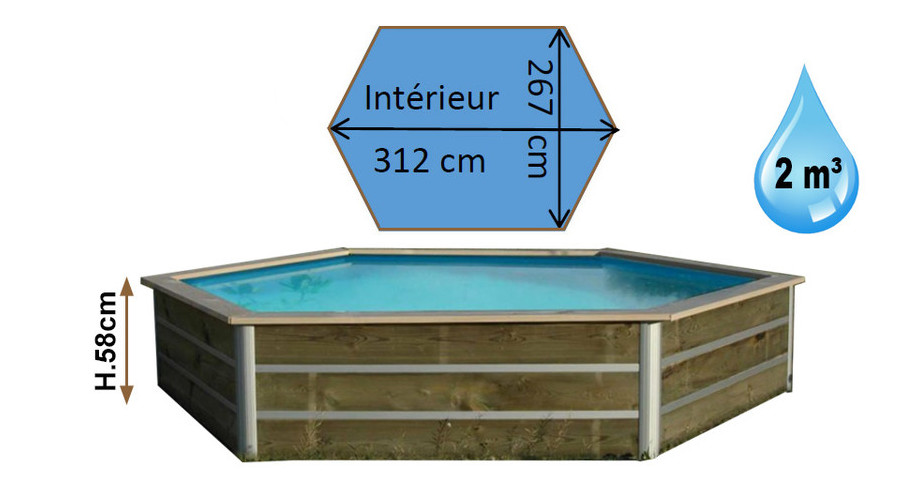 dimensions de la piscine bois hexagonale waterclip masbate