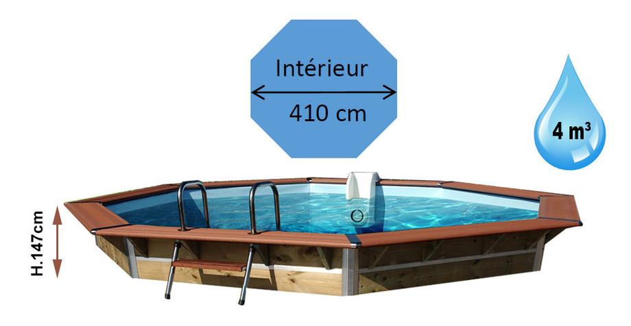 dimensions de la piscine bois octogonale naxos en situation