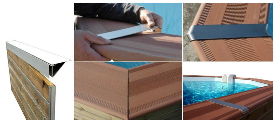 installation des margelles de la piscine bois octogonale allongée waterclip