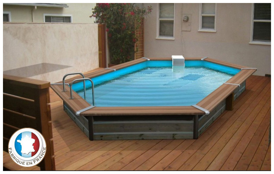 Piscine bois waterclip octogonale allong e hauteur 147cm for Prix piscine 5x10