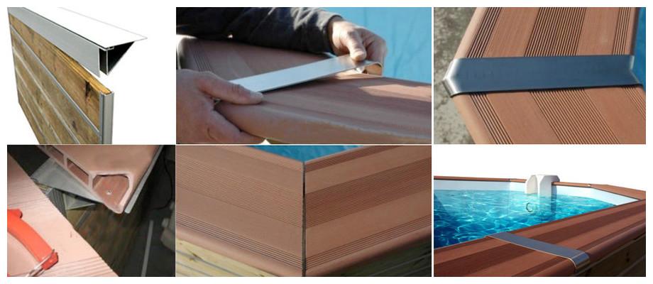 installation des margelles composite de la piscine bois water'clip cebu