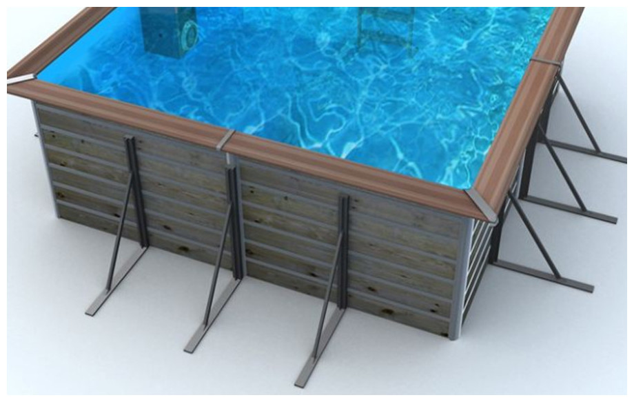 jambe de force piscine bois waterclip carrée