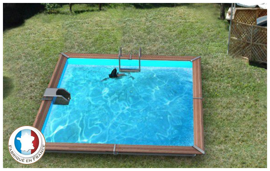 piscine bois carrée waterclip en situation