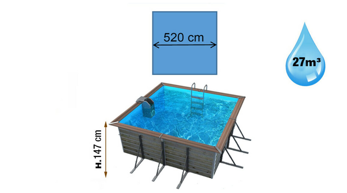 dimensions piscine waterclip carrée solta