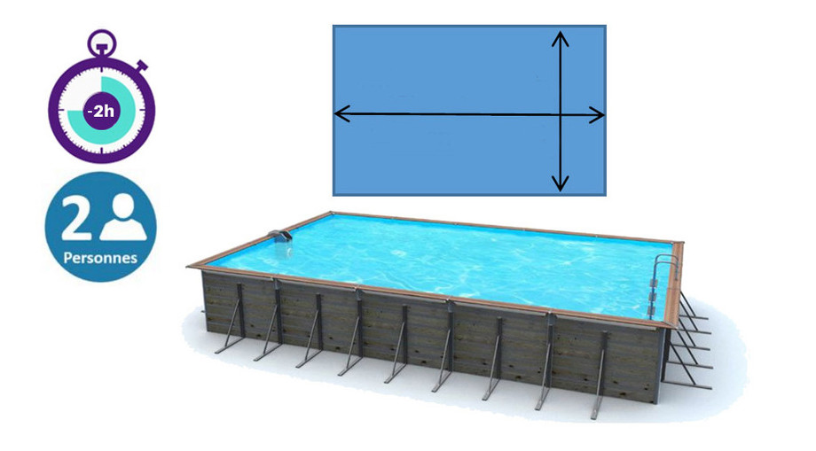 dimension de la piscine bois waterclip rectangle en situation
