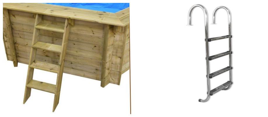 échelle d'accès piscine bois waterclip hexagonale summum
