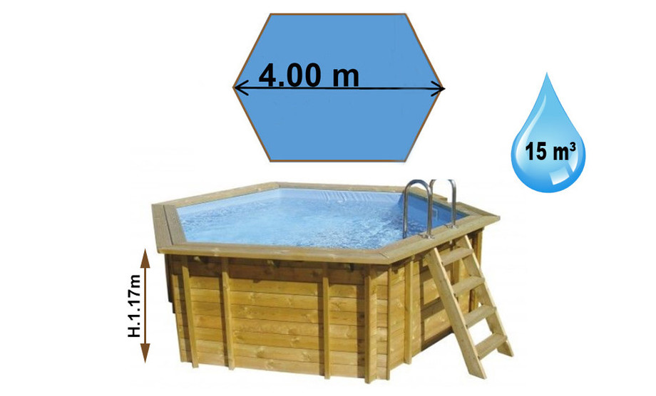 dimensions de la piscine bois summum waterclip en situation