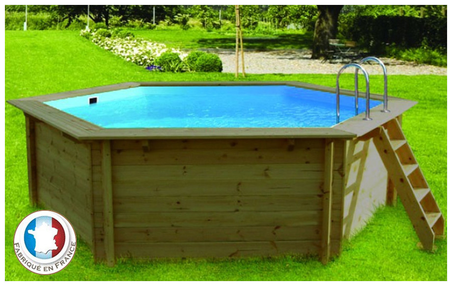 Piscine bois waterclip hexagonale hauteur 117cm piscine for Piscine waterclip