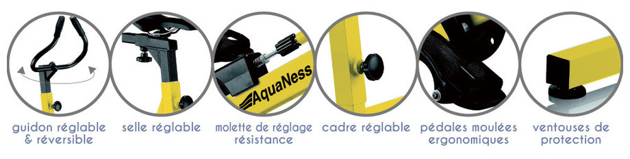 Vélo de piscine Aquaness Aquabike V4 - détails