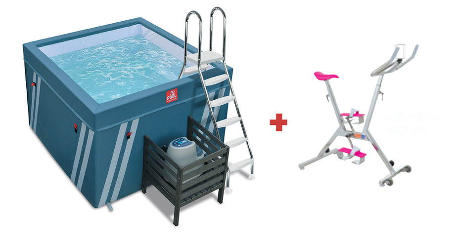 bassin fit's pool pour aquabike avec vélo aquabike