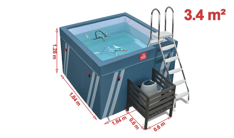 dimension du bassin fitspool waterflix pour aquabaking