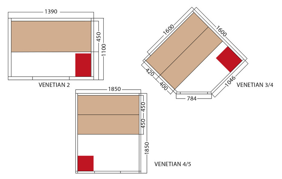 dimensions du sauna vapeur traditionnel venetian holl's