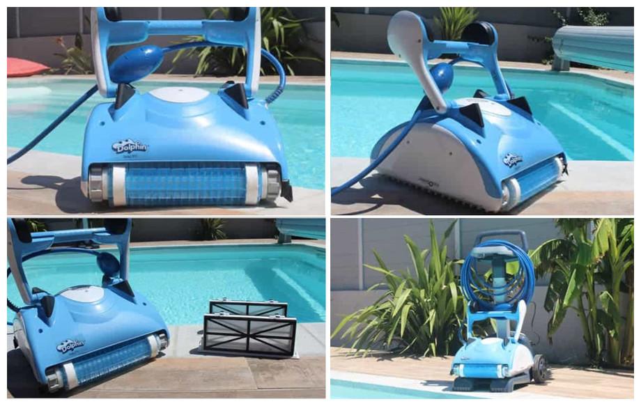 robot de piscine dolphin nauty en situation