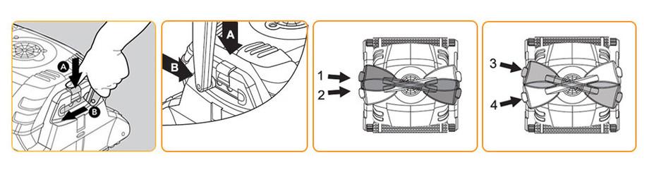 réglage des poignées de diagonale du robot piscine dolphin d209