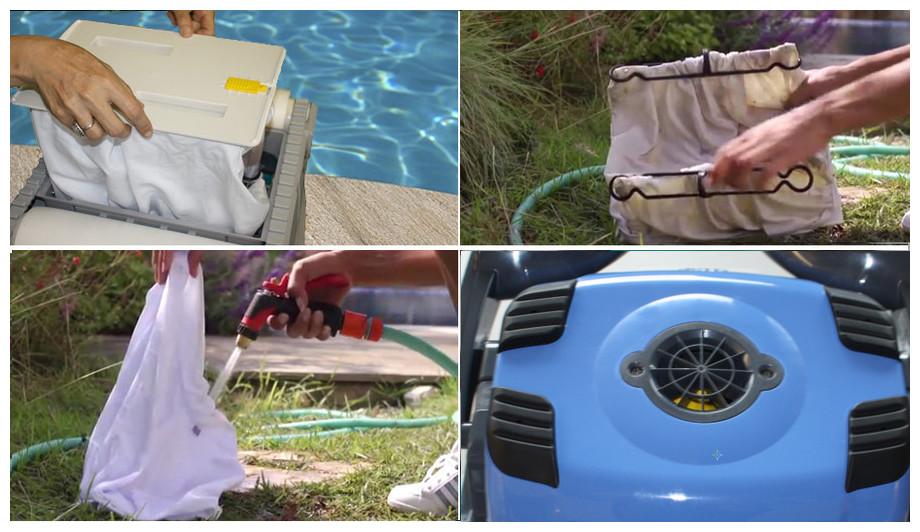 nettoyage des sacs de filtration du robot de piscine Dolphin D209