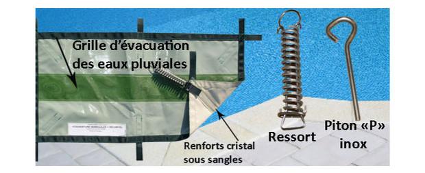 couveture de piscine waki plus safe - detail ancrage