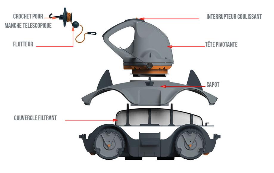 descriptif du robot piscine sans fil vektro auto en situation