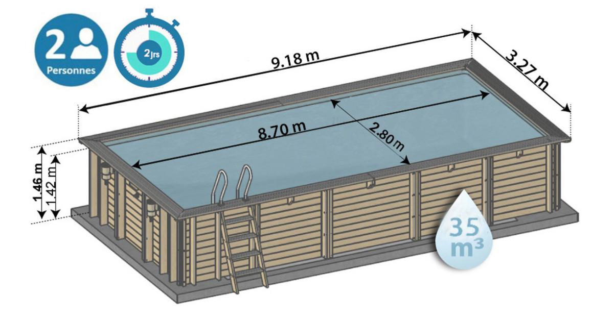 dimensions de la piscine bois anise sunbay en situation